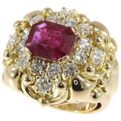 Wolfers Untreated Ruby and Diamond Cocktail Ring 18 Karat Yellow Gold