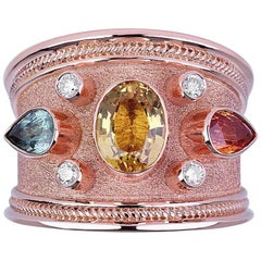 Georgios Collections 18 Karat Rose Gold Byzantine ring with Multicolor Sapphires