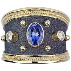 Georgios Collections 18 Karat Yellow Gold Diamond Sapphire Byzantine Style Ring