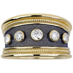 Georgios Collections 18 Karat Yellow Gold Diamond Ring in Byzantine Style