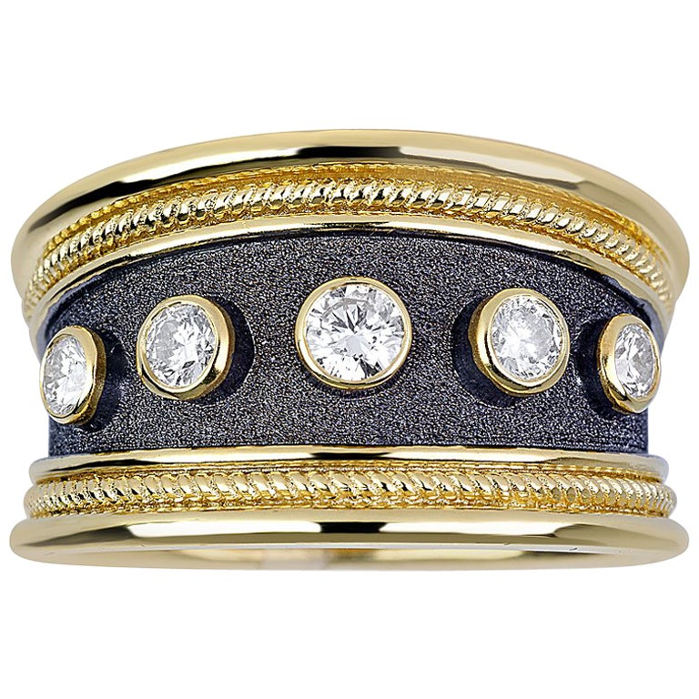 Georgios Collections 18 Karat Yellow Gold Diamond Band Ring in Byzantine Style
