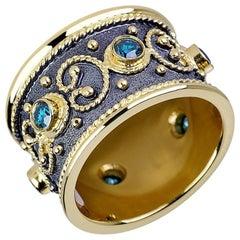 Georgios Collections 18 Karat Yellow Gold Diamond Ring with Blue Diamonds