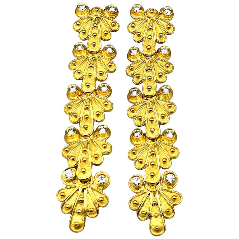 Georgios Collections 18 Karat Yellow Gold Diamond Byzantine Earrings