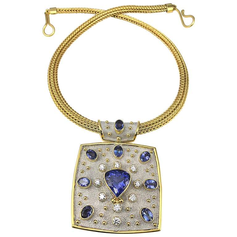 Georgios Collections 18 Karat Yellow Gold Necklace with Tanzanites and Diamonds