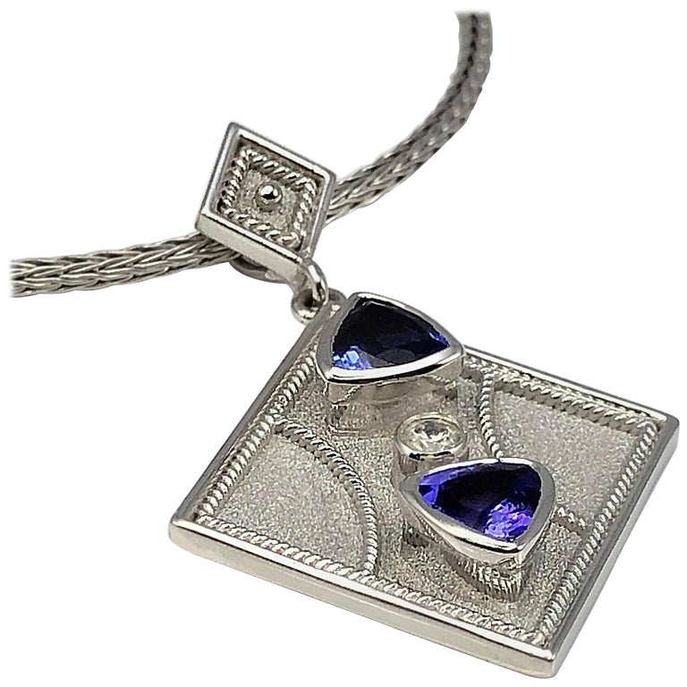 Georgios Collections 18 Karat White Gold Pendant with a Diamond and Tanzanites For Sale