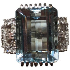 Aquamarine Emerald Cut and Diamond Cocktail Ring in Platinum