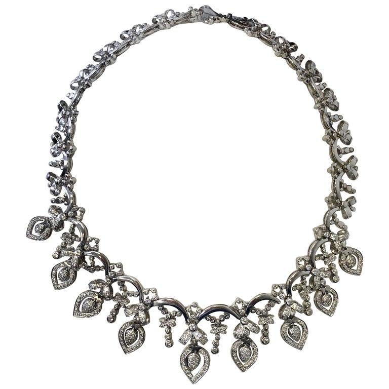 White Diamond Necklace in 18 Karat White Gold