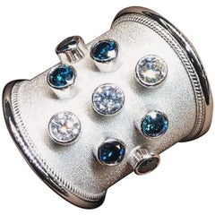 Georgios Collections 18 Karat White Gold Ring with White and Blue Diamonds