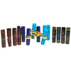 Interchangeable Natural Semiprecious Stones Baton Set 18 Karat Gold Cufflinks