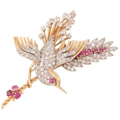 Vintage Gold Diamonds and Rubies French Bird Brooch
