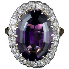 Antique Victorian Amethyst Diamond Ring 9 Carat Gold, circa 1900