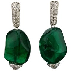 66 Carat Emerald Beads and Diamond Dangle Earrings