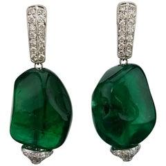 66 Carat Emerald Beads and Diamond Dangle Earrings