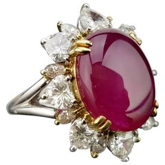 9.13 Carat Burma Ruby and Diamond Cocktail Ring