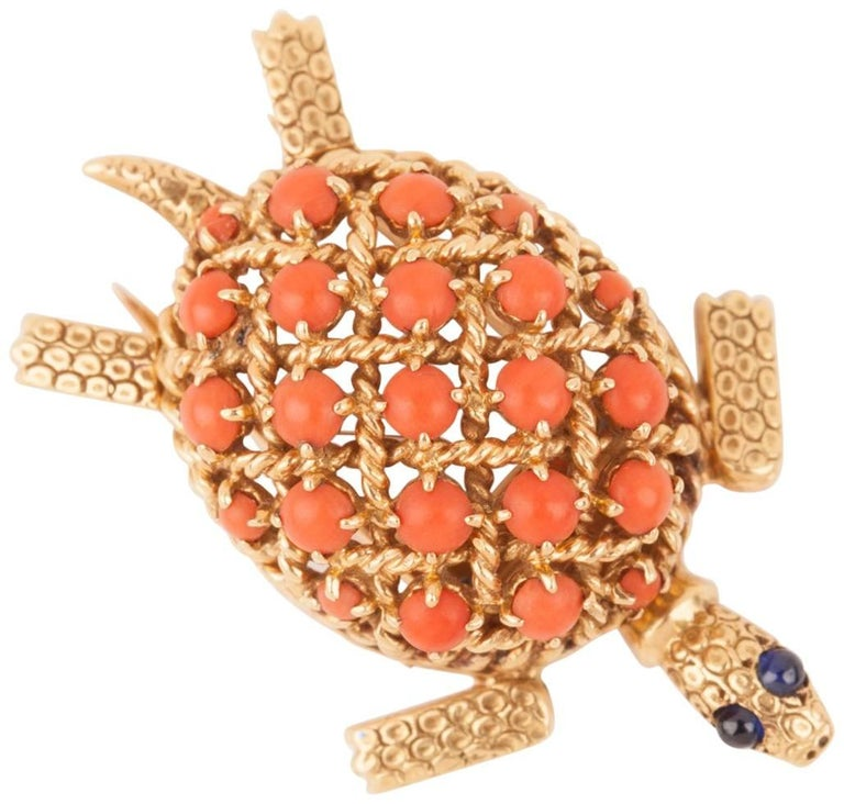 Gold and Coral Cartier Brooch