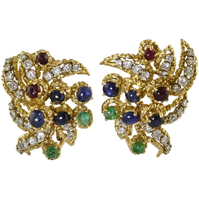 Diamonds Sapphires Rubyes Emeralds Yellow Gold Earrings