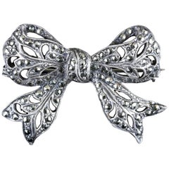 Antique Edwardian Marcasite Bow Brooch Silver, circa 1910
