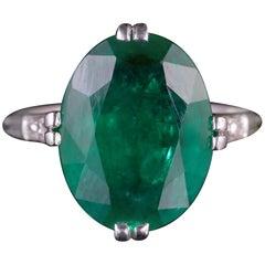 Antique Edwardian Emerald Diamond Ring Platinum, circa 1910