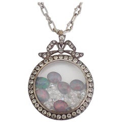 Edwardian Silver Paste Shaker Locket Opal Crystal Pendant Necklace