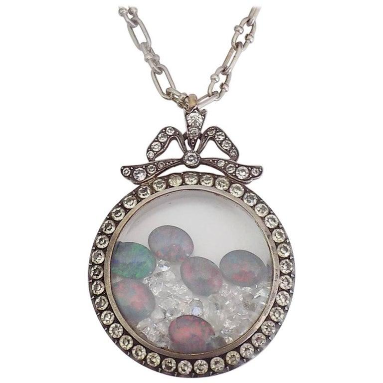 Edwardian Silver Paste Shaker Locket Pendant Necklace