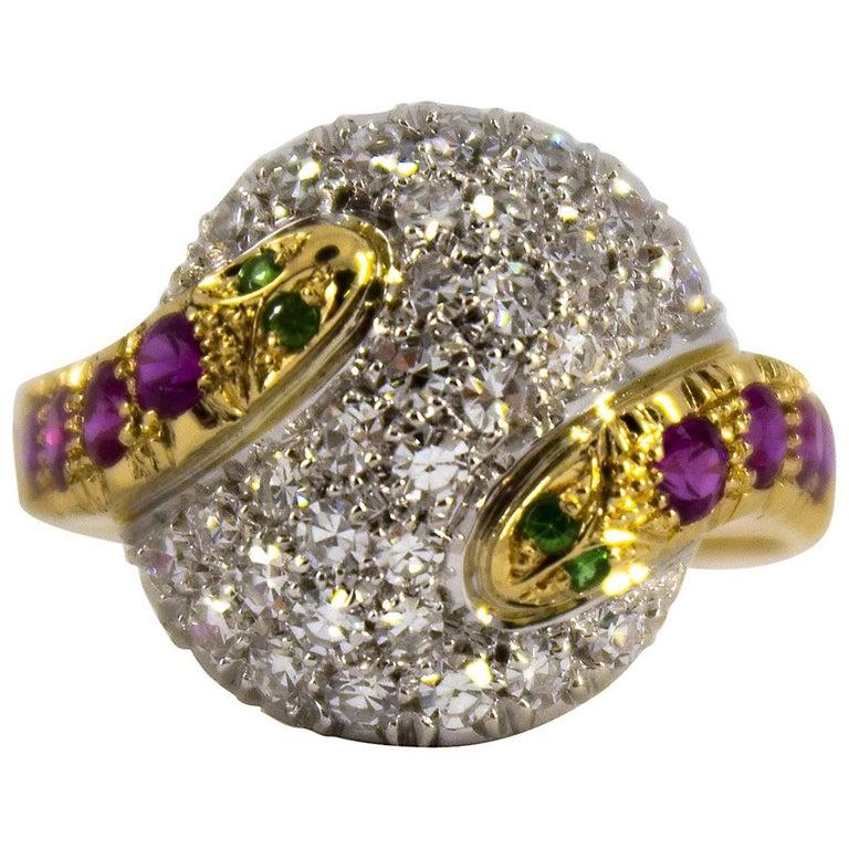 "0.44 Carat Ruby Tsavorite 0.90 Carat Diamond Yellow Gold ""Snakes"" Cocktail Ring For Sale"