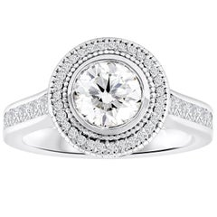 GIA Certified Round Diamond Halo Antique-Style Engagement Ring
