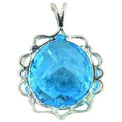 Blue Topaz in Sterling Silver Pendant