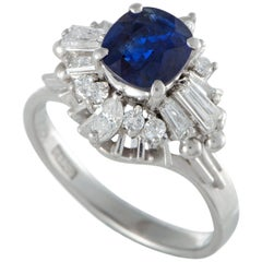 Blue Sapphire and Diamond Platinum Cocktail Ring