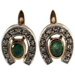 1.10 Carat Emerald 0.30 Carat Diamond Yellow Gold Lever-Back Earrings