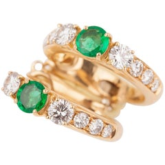 Gold Emeralds and Diamonds French Créoles Earrings