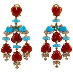 Mediterranean Red Coral Turquoise Emerald Diamond Yellow Gold Clip-On Earrings