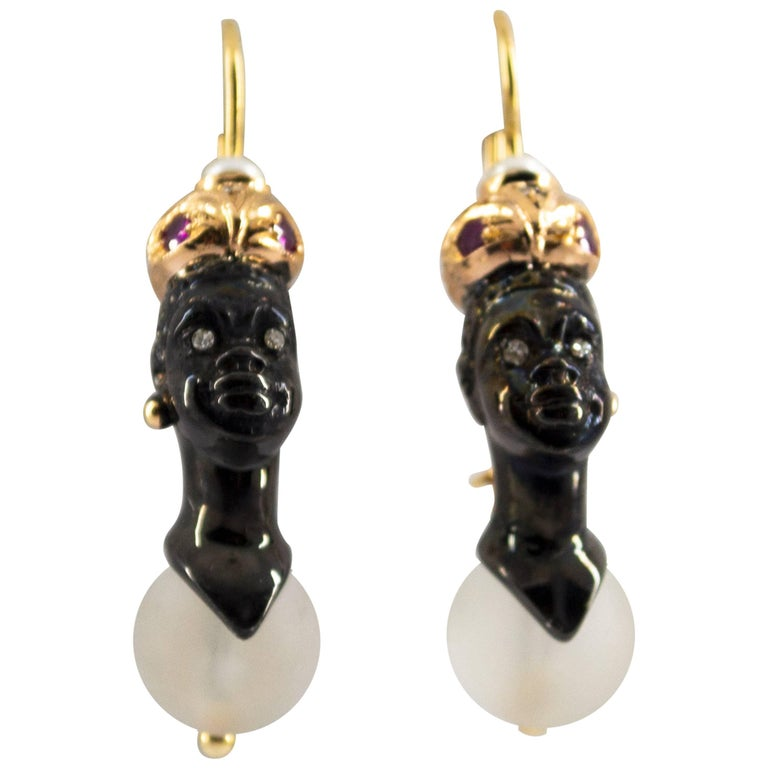 0.33 Carat Ruby Diamond Rock Crystal Pearl Yellow Gold Blackamoor Stud Earrings