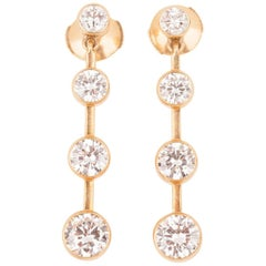 Gold and Diamonds French Pendants Earrings