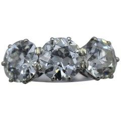 Three Old European Cut Diamond Antique Ring