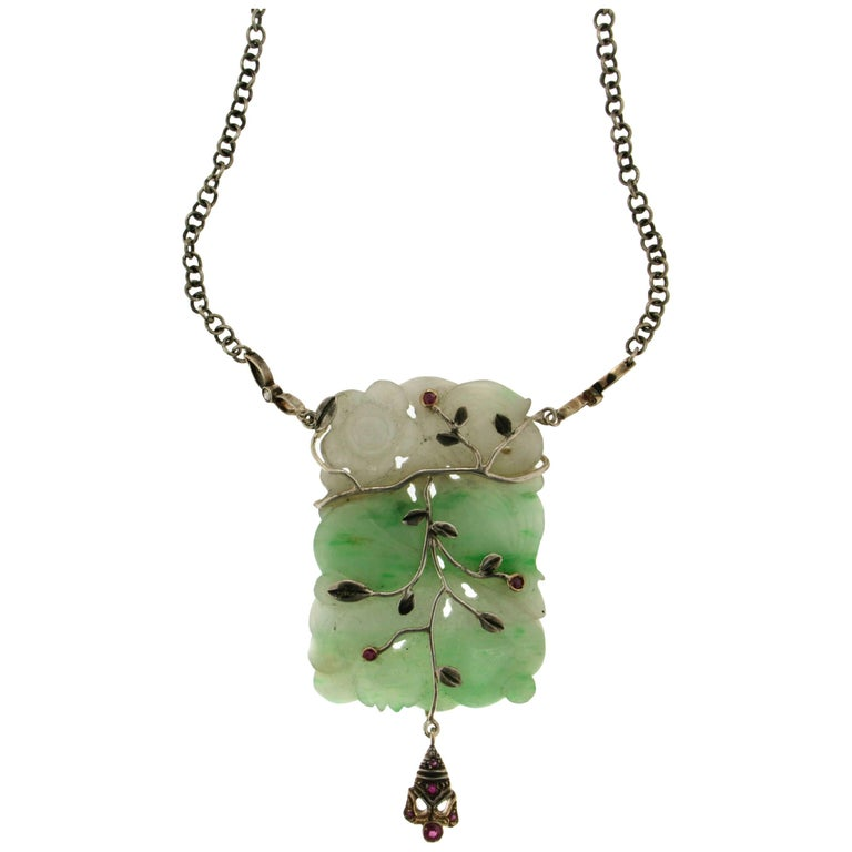 Jade Silver and Gold Drop Necklace