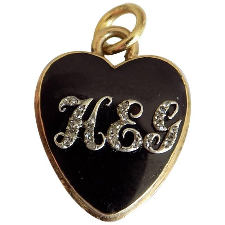 18K Gold Georgian Diamond Black Enamel Rose Cut Diamond HEG Heart Locket Pendant For Sale