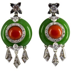 Mediterranean Red Coral Jade 0.96 Carat Diamond White Gold Stud Earrings
