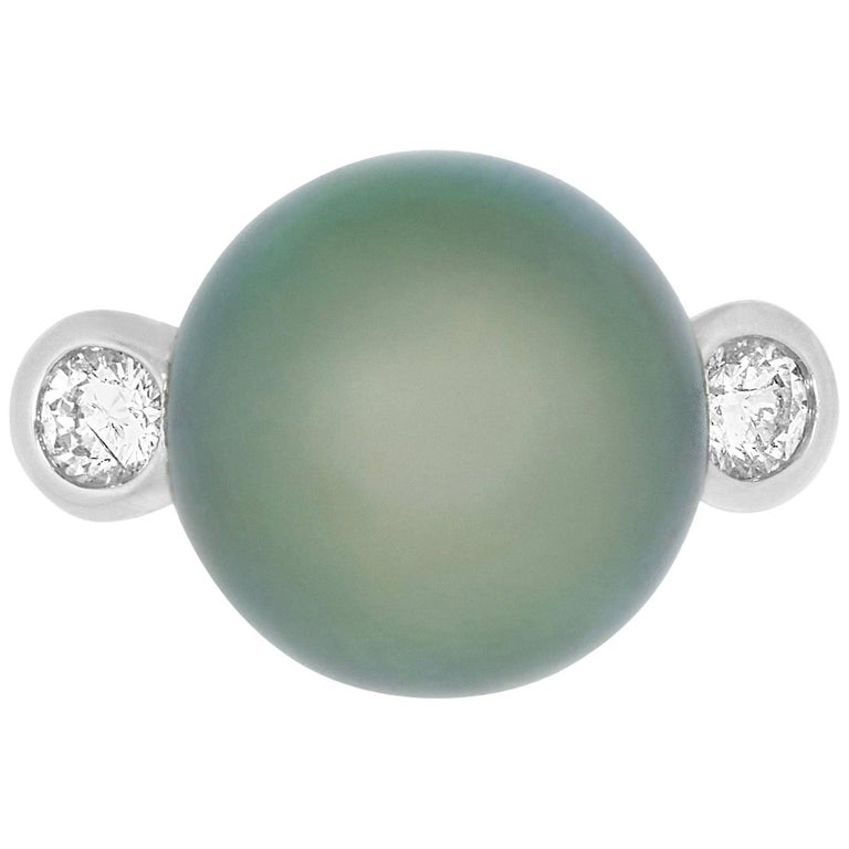 3.26 Carat Tahitian South Sea Pearl and 0.33 White Diamond Ring R100144-2W