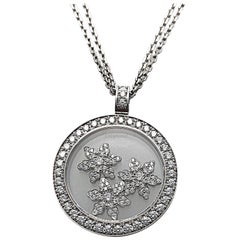 Chopard .96 Carat Diamond Happy Snow Flakes Pendant, Double Chain