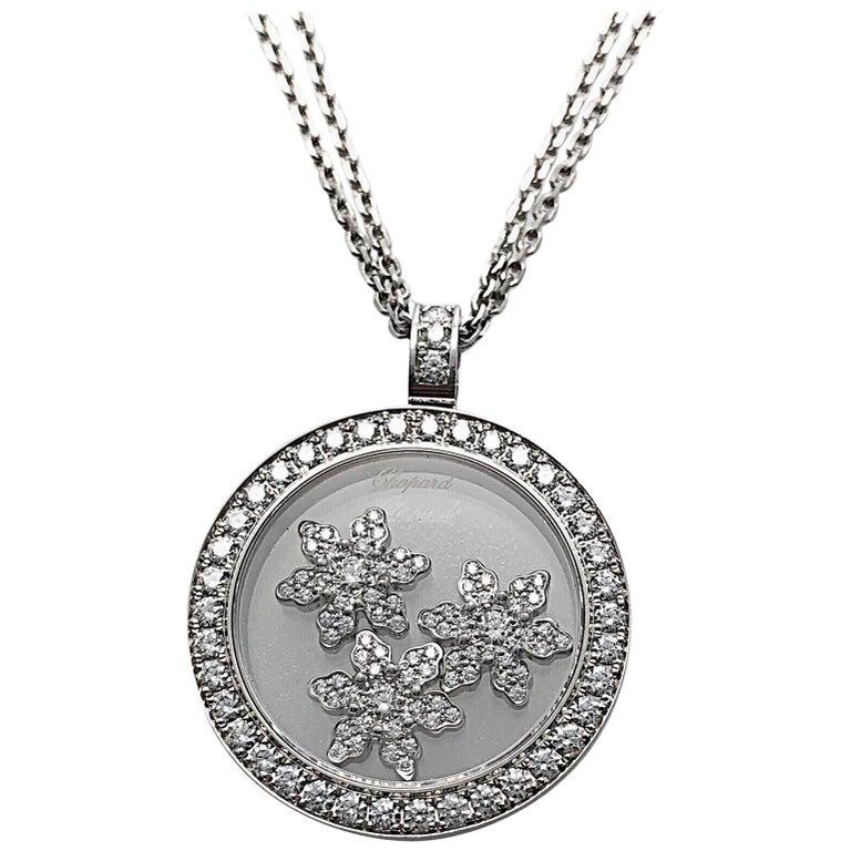 Chopard .96 Carat Diamond Happy Snow Flakes Pendant, Double Chain