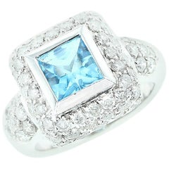 Square Blue Topaz and Diamond Ring, 18 Karat White Gold