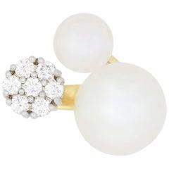 1.0 Carat Pearl and 0.72 Carat White Diamond Ring