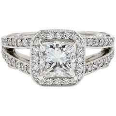 GIA Certified 1.57 Carat Princess Cut Diamond Engagement Ring