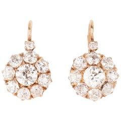 6 Carat Gold and Diamonds Victorian Earrings