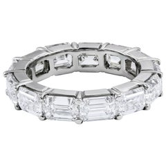 6.92 Carat Emerald Cut Diamond East-West Eternity Wedding Band