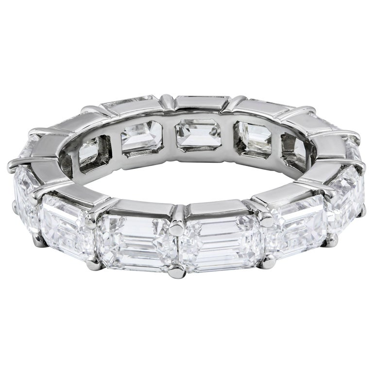 6.92 Carat Emerald Cut Diamond East-West Eternity Wedding Band