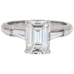 GIA Certified 2.29 Carat Emerald Cut and Baguette Diamond Ring in Platinum