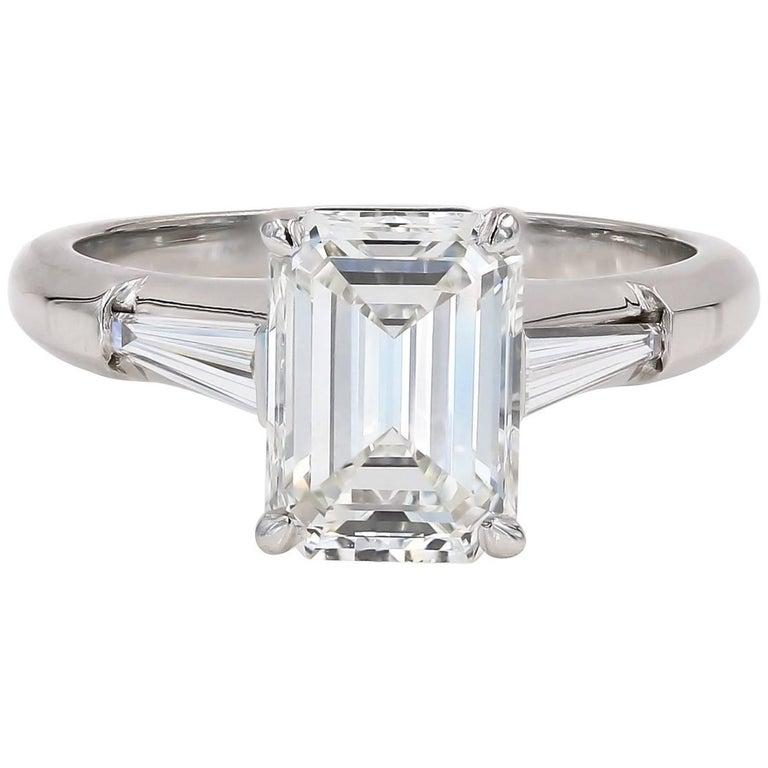 GIA Certified 2.29 Carat Emerald Cut and Baguette Diamond Ring in Platinum