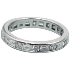 Tiffany & Co. Channel Set Rounds & Baguettes Diamond Eternity Platinum Band Ring