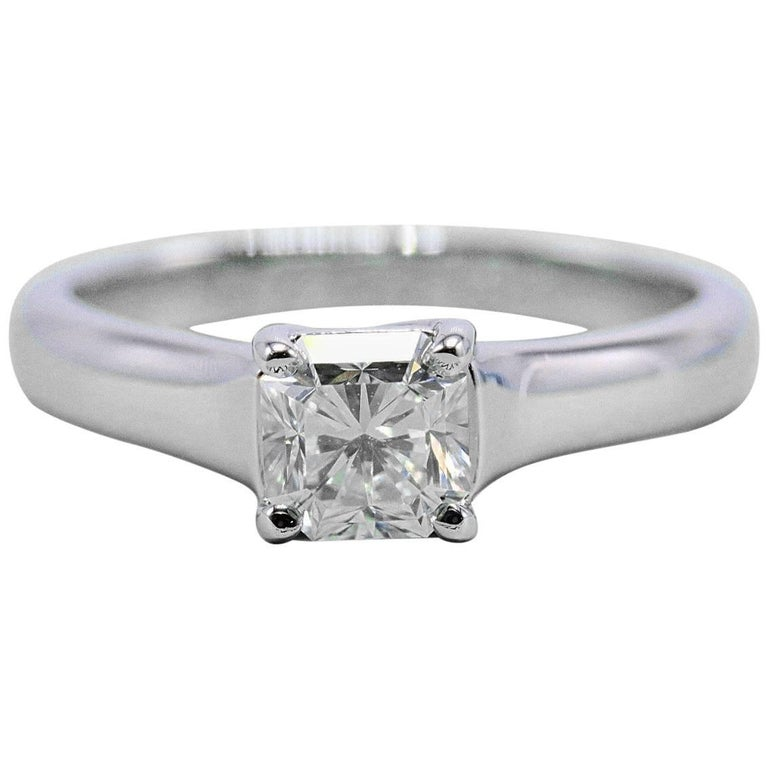 Tiffany & Co. Lucida 0.63 Carat G VS1 Diamond Platinum Engagement Ring Papers